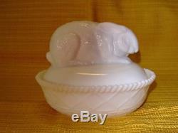 Vintage Greentown White Milk Glass Rabbit on Nest RARE