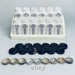 Vintage Griffith Chicago Set of 12 White Milk Glass Spice Jars & Spice Rack