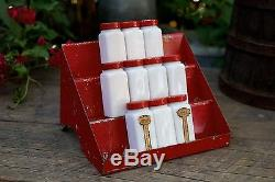 Vintage Griffith's White Milk Glass 10 Spice Jars withRare 3 Tiered Red Metal Rack