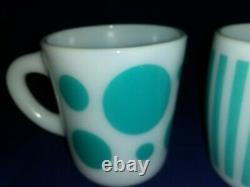 Vintage HAZEL ATLAS Candy Stripe & Polka Dot Turquoise Mug White Milk Glass EUC