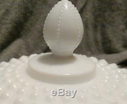 Vintage HTF Fenton White Milk Glass Hobnail Covered Urn Apothecary 1968-1969