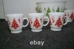 Vintage Hazel Atlas 7 pc Christmas Trees Egg Nog Punch Bowl Set Milk Glass MCM