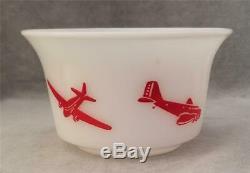 Vintage Hazel Atlas Milk Glass Children's Bowl Red Airplane Graphics 5