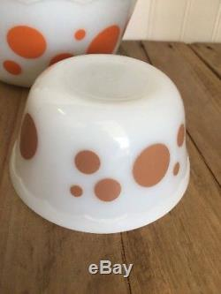 Vintage Hazel Atlas Milk Glass Polka Dot Nesting Bowls