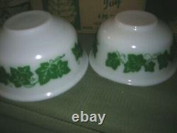 Vintage Hazel Atlas White Milk Glass Green Ivy Mixing Bowls 4pc. Set NOS IOB