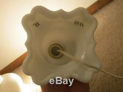 Vintage Heavy White Milk Glass Electric Hurricane Torchiere Table Lamp 21 Tall