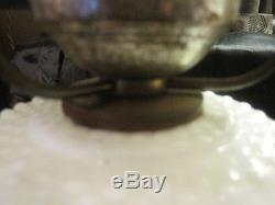 Vintage Hobnail White Milk Glass Lamp, Hurricane Lamp