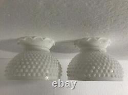 Vintage Hurricane Lamp Milk Glass White Light Shade Ruffled Mid Century Modern