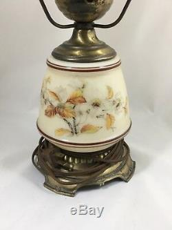 Vintage Hurricane Lamp Quoizel 1978 C265BA 21 Inch Wild White Roses Milk Glass