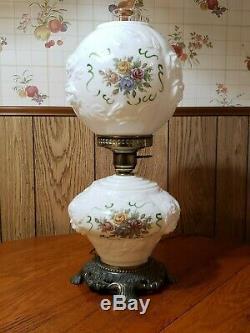Vintage Hurricane Lamp White Milk Glass Embossed Floral Roses 19 Tall