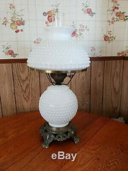 Vintage Hurricane Lamp White Milk Glass Hobnail 20 Tall 3 Way Lighting