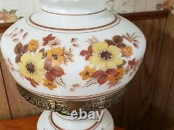 Vintage Hurricane Lamp White Milk Glass Ornate With Floral Flowers 20 Tall