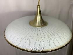 Vintage Imperialite Mid Century Modern Atomic Glass Disc Hanging Light Fixture