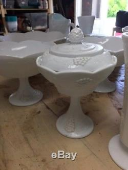 Vintage Indiana Milk Glass Harvest Grape Pattern- 328 piece set. / Local Pick up
