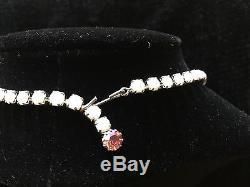 Vintage JULIANA White Milk Glass Necklace with Pink Aurora Borealis Rhinestones