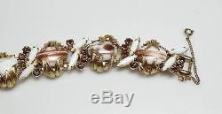Vintage Juliana White Milk Glass & Aurora Borealis Rhinestones Bracelet/Earrings