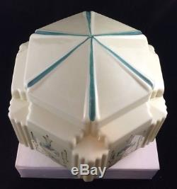 Vintage Light Globe Art Deco Skyscraper White Custard Milk Glass Shade Stencil