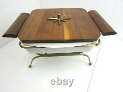 Vintage MCM Glasbake J-247 Chafing Dish With Starburst Wood Handles Lid Wire Rack
