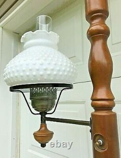 Vintage MCM Tension Pole Hobnail Milkglass Brass Lamp 8' Stained Wood