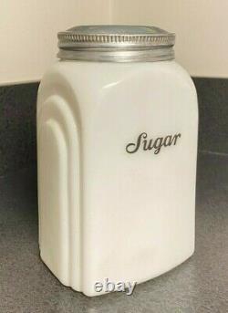 Vintage McKee Canister Roman Arch Sugar White Milk Depression Era Glass 6 1/4
