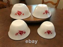 Vintage McKee Red Sail Boats Ships Bell Shaped Milk Glass Mixing Bowls Set of 4