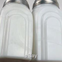 Vintage McKee Sailboat Salt & Pepper Shakers Jadite White Tipp City Roman Arch
