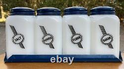 Vintage Mckee Tipp City Milk Glass Art Deco Salt Pepper Flour Sugar Shakers Htf