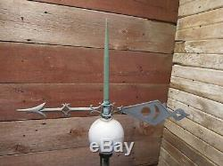 Vintage Metal Arrow Lightning Rod White Milk Glass Ball Weathered Lighting Rod