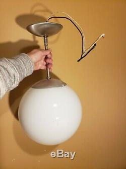 Vintage Mid Century Modern Pendant Light Round Milk Glass Globe Moon