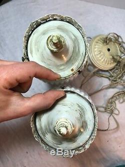 Vintage Mid Century Modern Pendant Milk Glass Ceiling Light Fixture Chandelier