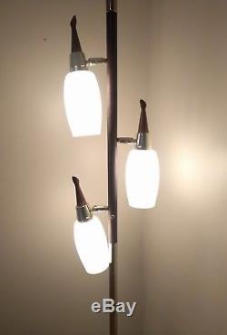 Vintage Mid-Century Modern Pole Tension Light White/Milk Glass, Works