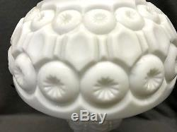 Vintage Milk Glass BRASS White Moon and Stars Pattern LG Wright Electric Lamp