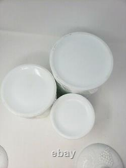 Vintage Milk Glass Canisters with Lid SET White Indiana Colony Grape Harvest S M L