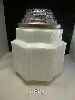 Vintage Milk Glass Clear Art Deco Skyscraper Shade Ceiling Light Globe