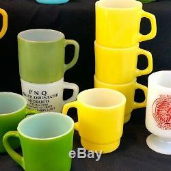 Vintage Milk Glass Mug Lot Fire King Anchor Hocking Stacking Advertising Snoopy