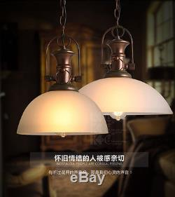 Vintage Milk Glass Pendant Ceiling Lamp Antique Rust Restoration Barn E27 Light