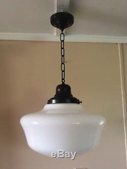 Vintage Milk Glass Pendant School House Light 1920s Indus 16 Art Deco 3 Of 3