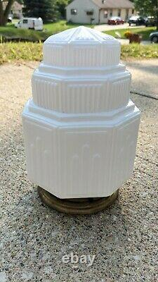 Vintage Milk Glass Skyscraper Ceiling Globe Light Shade Art Deco Antique