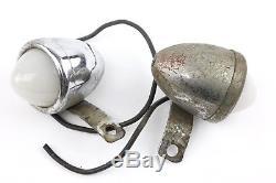 Vintage Milk Glass White Bullet Marker Lights Beck Harley Indian Motorcycle