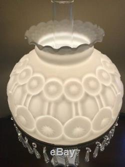 Vintage Milk Glass White Moon and Stars Pattern LG Wright Electric Lamp Prisms
