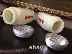 Vintage Original McKee Red Dots Milk Glass Roman Arch Salt & Pepper Shakers