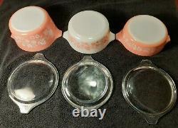 Vintage PYREX 3 Casseroles w LIDS PINK & WHITE GOOSEBERRY
