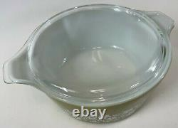Vintage PYREX 8 pc SPRING BLOSSOM Crazy Daisy Green White Casserole Set with Lids