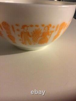 Vintage PYREX AMISH ORANGE BUTTERPRINT CINDERELLA NESTING MIXING BOWLS RARE X3