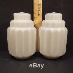 Vintage Pair Skyscraper Milk Glass Slip Shades Art Deco Sconce