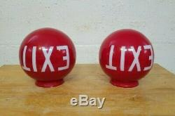 Vintage Pair of Red Painted Milk Glass EXIT Globe Light Fixtures