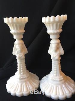 Vintage Portieux Vallerysthal White Milk Glass Figural Candlesticks (2) pair