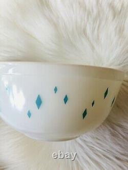 Vintage Promo Pyrex Mixing Bowl Turquoise Diamond Pattern Dainty Maid HTF Rare