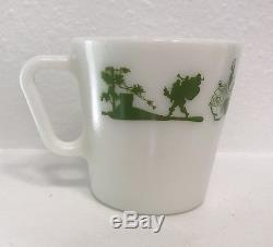 Vintage Pyrex 1410 Green Merry Christmas Santa Mug White Milk Glass. Rare