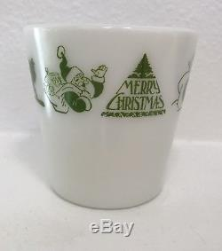 Vintage Pyrex 1410 Green Merry Christmas Santa Mug White Milk Glass. Rare